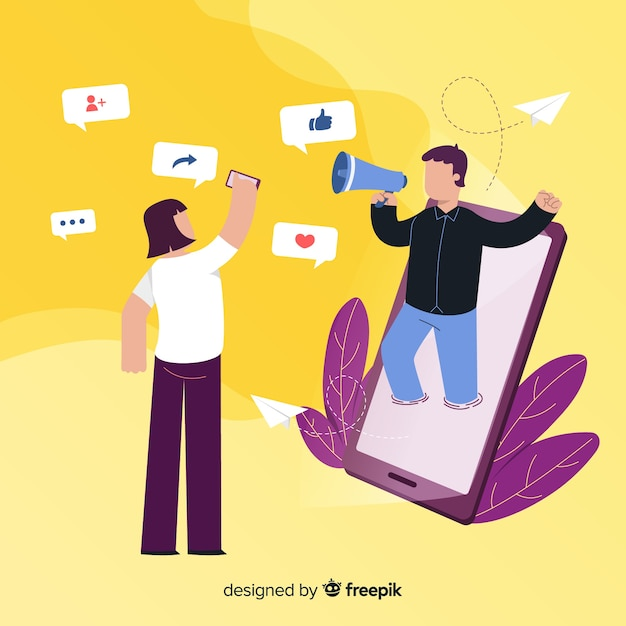 Flat design characters with notifications around Free Vector