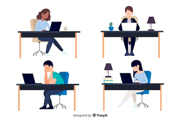 Flat design characters working at office Free Vector