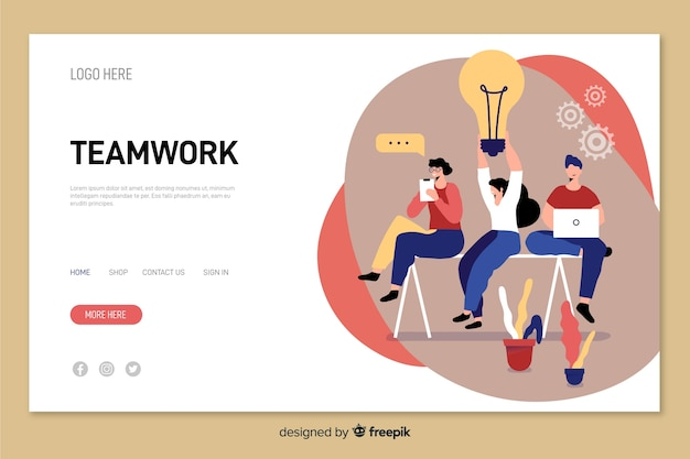 Flat design characters working together teamwork landing page Free Vector