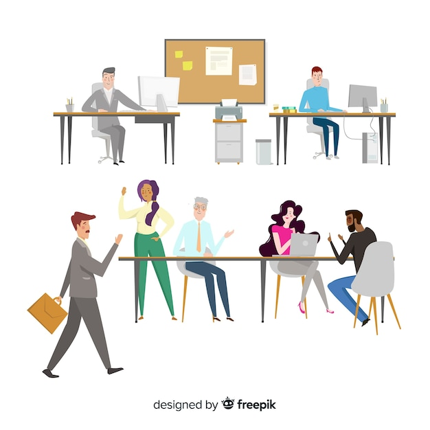 Flat design characters in workplace Free Vector