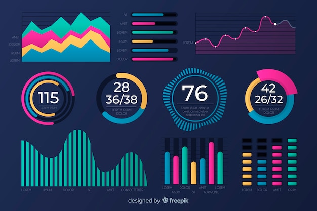 Flat design of chart collection template Free Vector