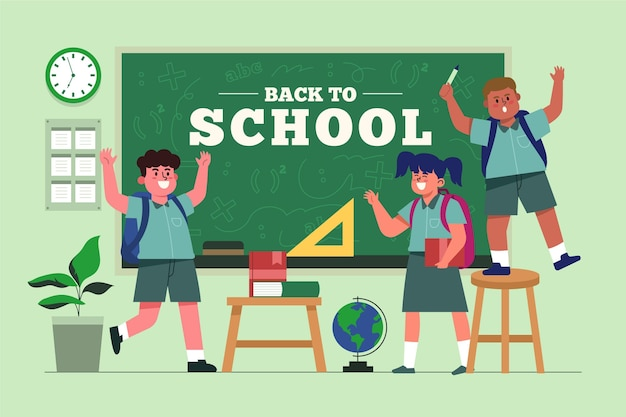 Flat design children back to school Premium Vector