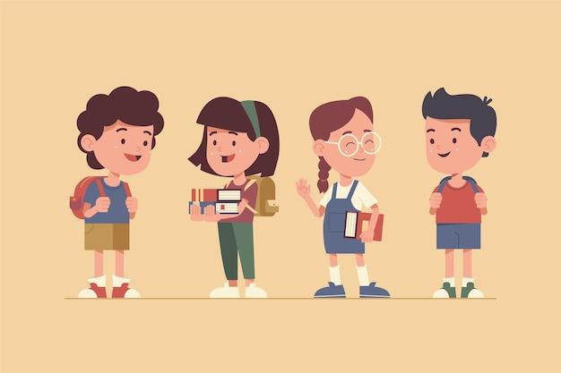 フラットデザインの子供たちが学校に戻る Premiumベクター