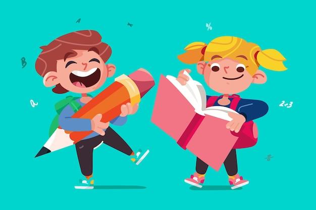Плоский дизайн детей обратно в школу Бесплатные векторы