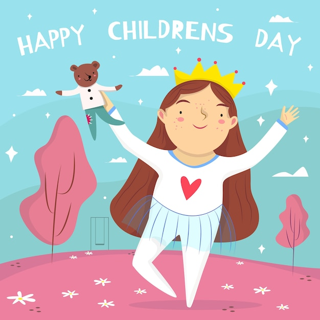 Flat design children's day background with girl Free Vector