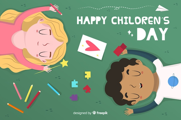 Flat design children's day background with kids Free Vector