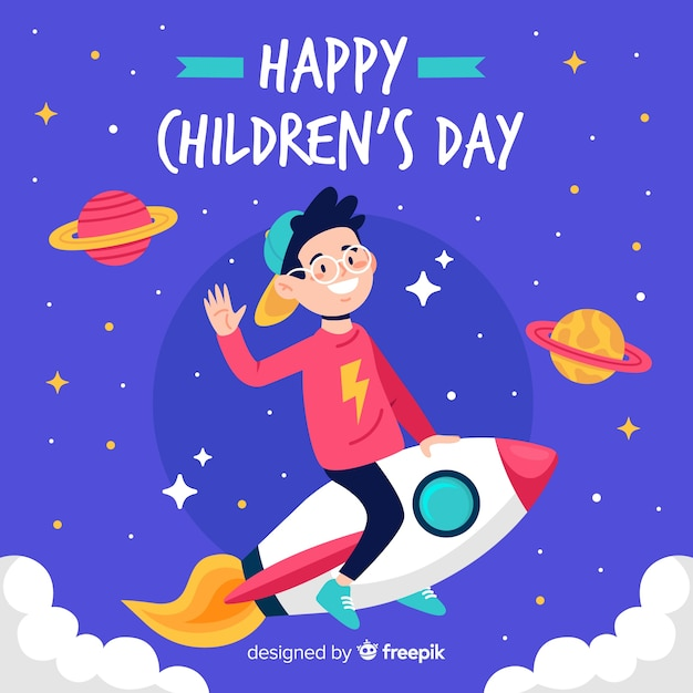 Flat design children's day background Free Vector