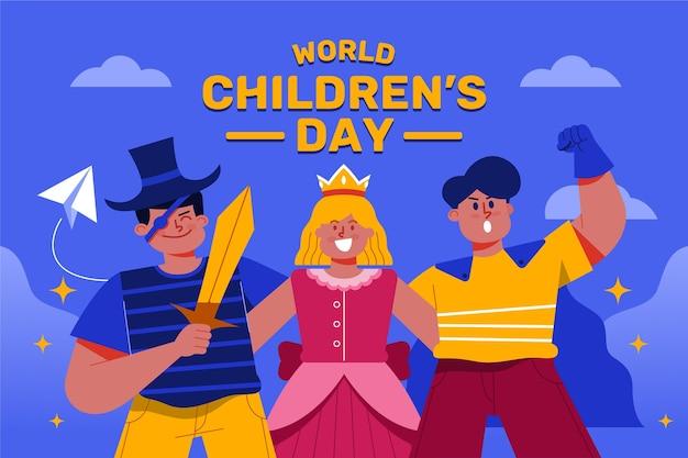 Плоский дизайн детский день мультяшных героев Бесплатные векторы