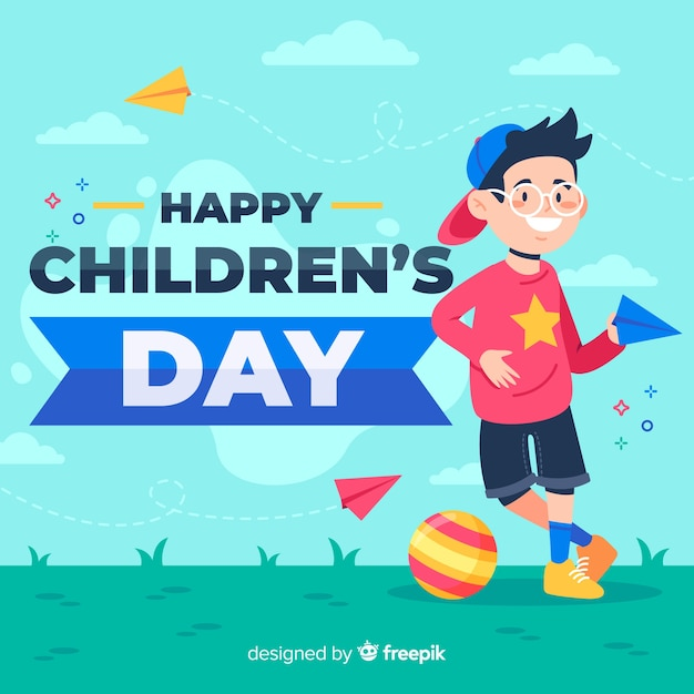 Flat design of children's day with child playing outside Free Vector