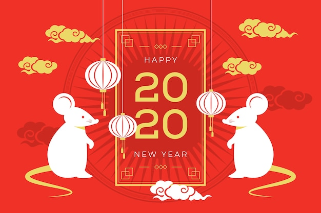 Flat design chinese new year background Free Vector