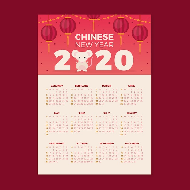 Flat design chinese new year calendar Free Vector