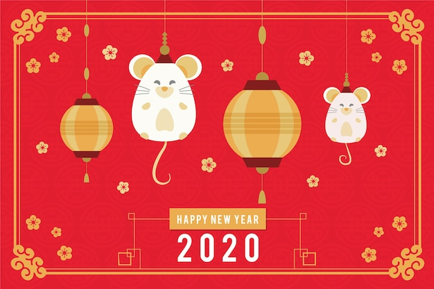 Flat design chinese new year concept Free Vector