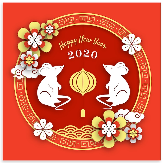 Flat design chinese new year wallpaper Vector  Free Download