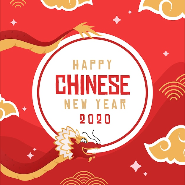 Flat design chinese new year with dragon illustration Free Vector