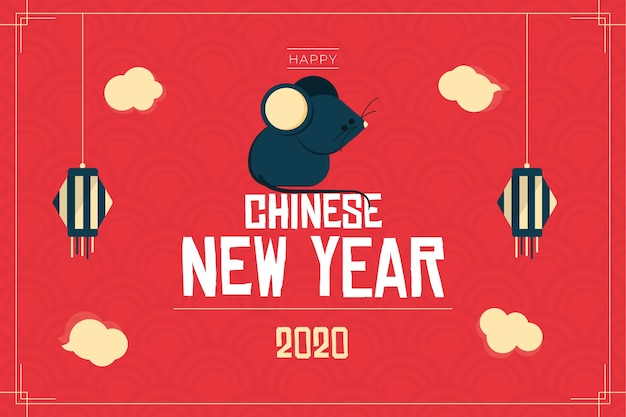 Flat design chinese new year with rat illustration Free Vector