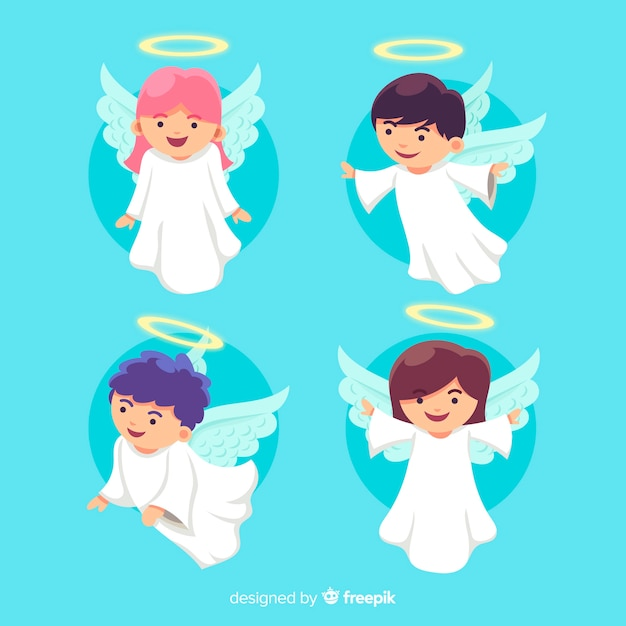 Flat design christmas angel collection Free Vector