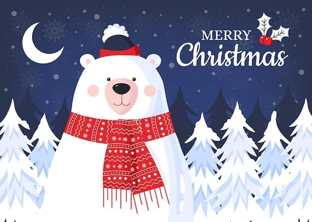 곰과 함께 평면 디자인 크리스마스 배경 프리미엄 벡터