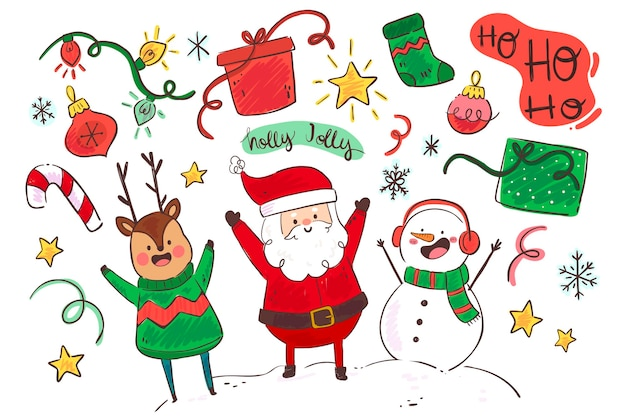 Flat design christmas background with characters Free Vector