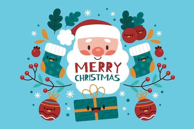 산타 클로스와 평면 디자인 크리스마스 배경 무료 벡터