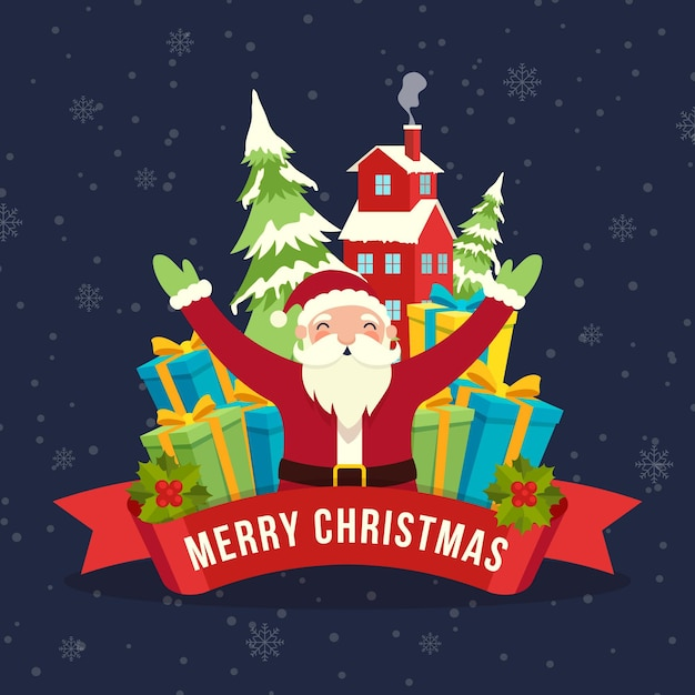 Flat design christmas background with santa Free Vector
