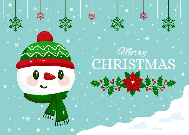 눈사람 플랫 디자인 크리스마스 배경 무료 벡터