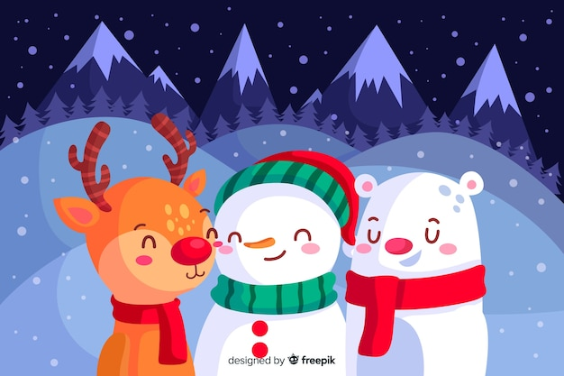 Flat design of christmas background Free Vector