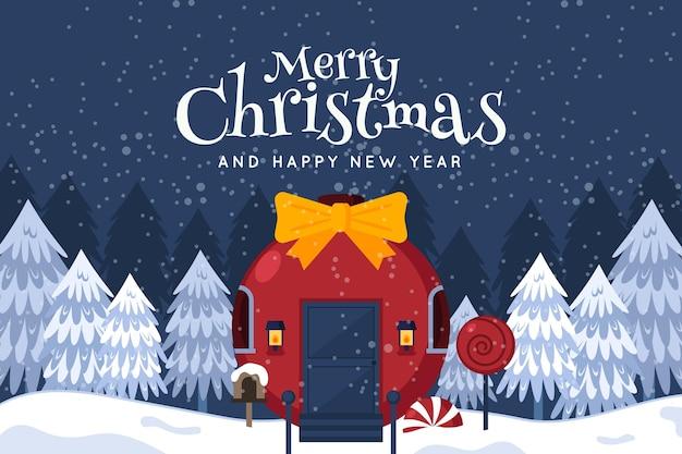 フラットなデザインのクリスマスの背景 無料ベクター