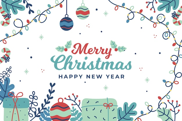 Flat design christmas background Free Vector