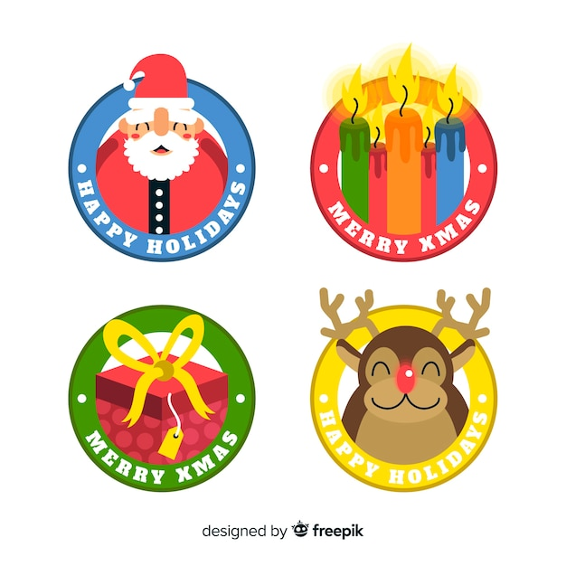 Flat  design of christmas badge collection Free Vector