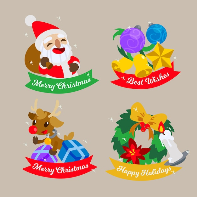 Flat design christmas badge collection Free Vector