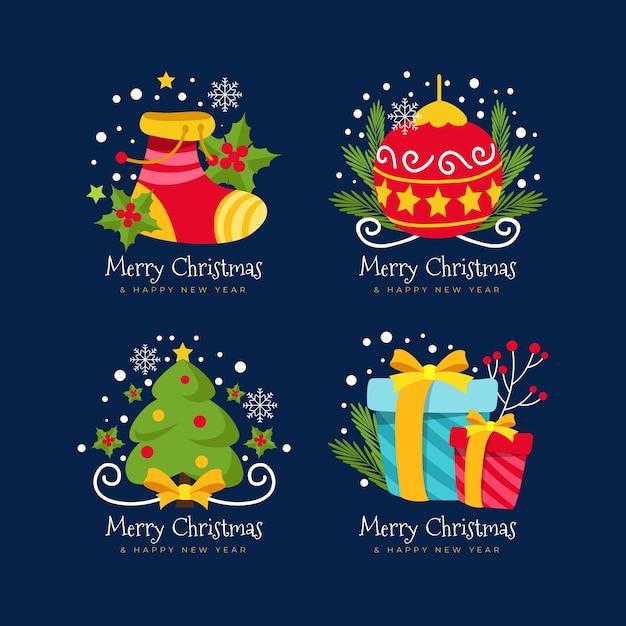 Плоский дизайн рождественской коллекции значков Бесплатные векторы