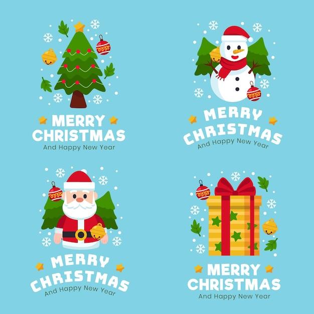 フラットデザインのクリスマスバッジコレクション 無料ベクター