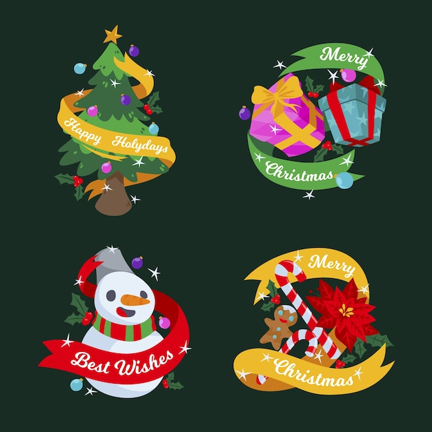 Flat design christmas badge set Free Vector