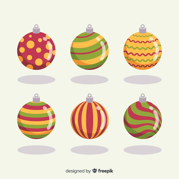Flat design christmas balls collection Free Vector