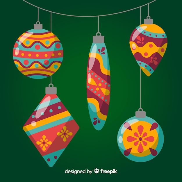Flat design christmas balls collection Free Vector