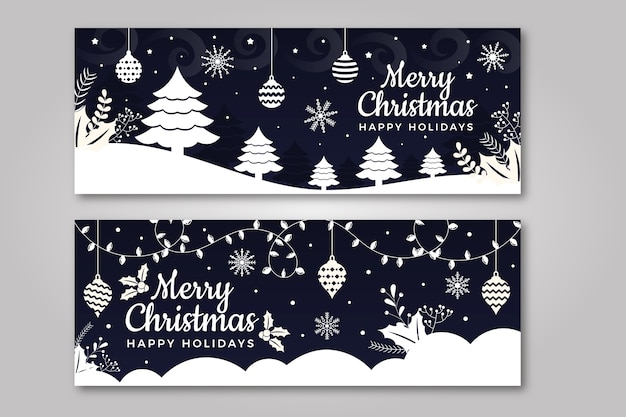 Плоский дизайн шаблона рождественские баннеры Бесплатные векторы