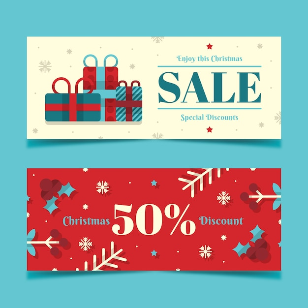 Flat design christmas banners template Free Vector