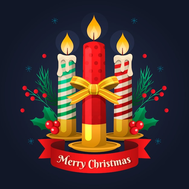 Flat design christmas candle background concept Free Vector