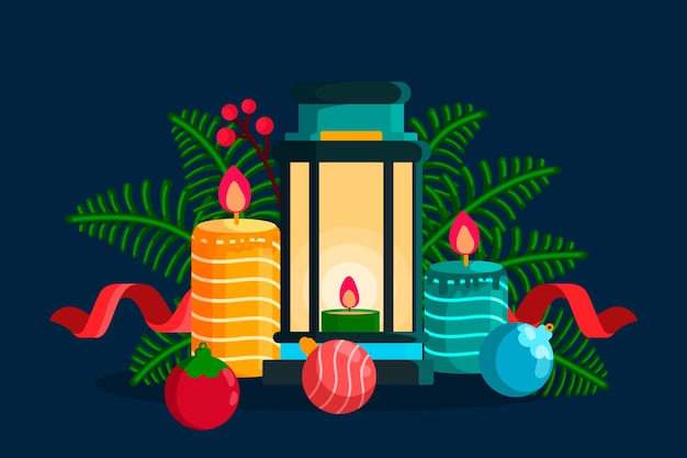 Flat design christmas candle background Free Vector