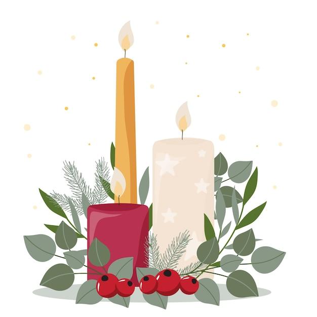 Sfondo di candela di natale design piatto Vettore gratuito