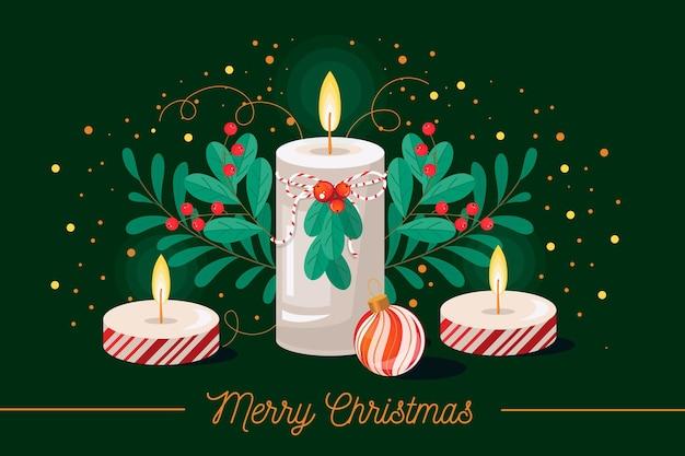 평면 디자인 크리스마스 촛불 배경 무료 벡터