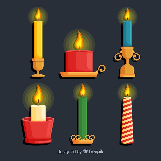 Flat design christmas candle collection Free Vector