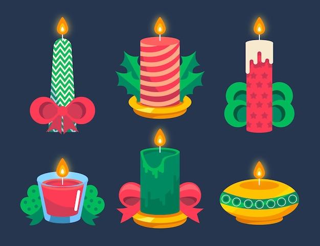 Confezione di candele natalizie design piatto Vettore gratuito