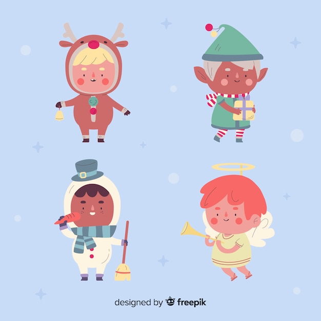 Flat design christmas characters collection Free Vector