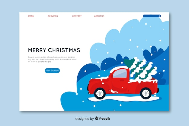 Flat design christmas concept landing page Free Vector