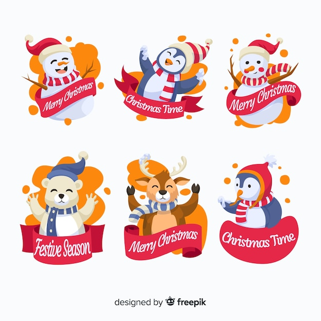 Flat design of christmas cute badge collection Free Vector