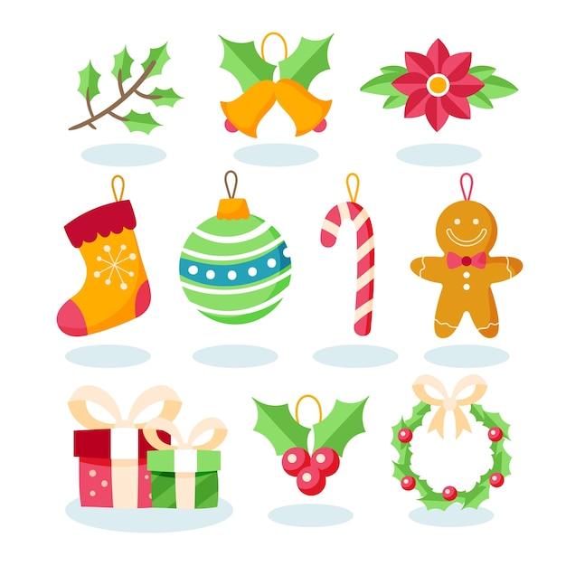 Flat design christmas decoration set Free Vector