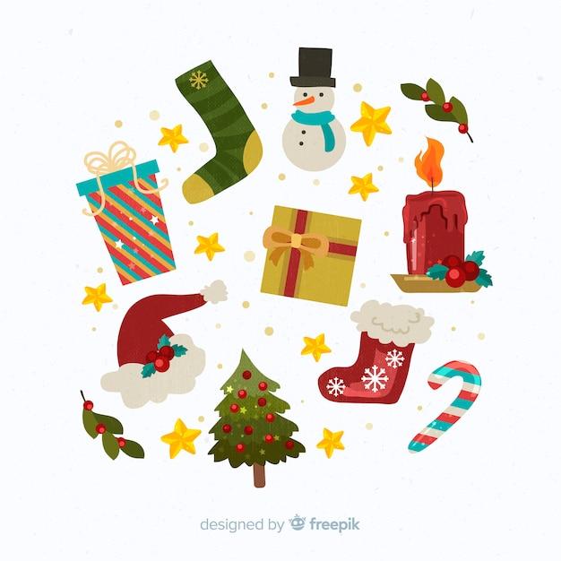 Design piatto decorazione natalizia Vettore gratuito