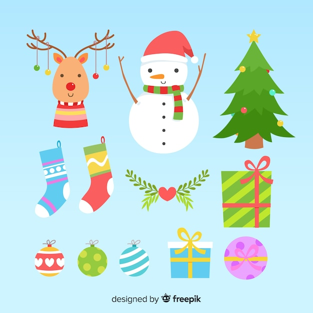 Flat design of christmas element collection Free Vector