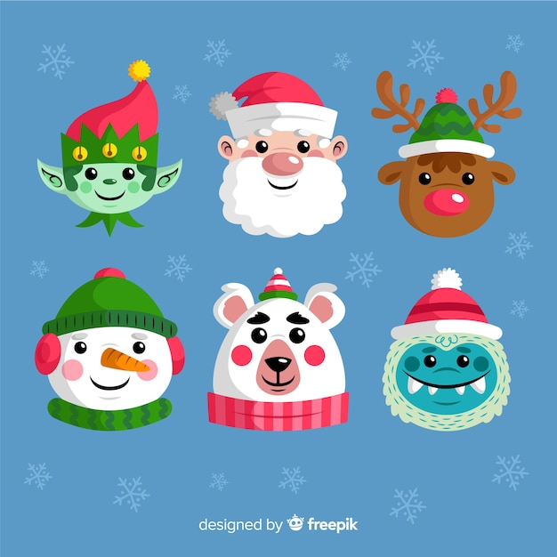 Flat design christmas element collection Free Vector